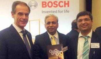 """Dr. Rishi with Dr. Volkmar Denner, Bosch CEO & CP Gurnani, CEO & MD, Tech Mahindra"""